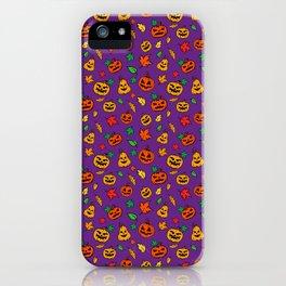 Purple Pumpkin Pattern Print Halloween iPhone Case