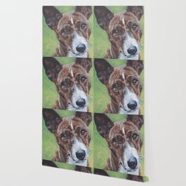 beautiful Basenji dog portrait art painting by L.A.Shepard Wallpaper