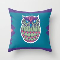indie Throw Pillows featuring Indie Owl by Dino DAdamo