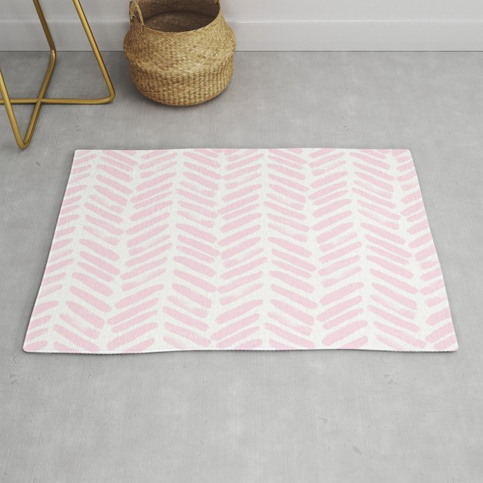 Handpainted Chevron Pattern Light Pink Stripes Rug By Simplicity Of Live