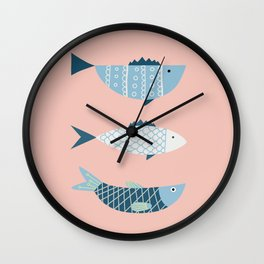 Mid-century blue fish Wall Clock