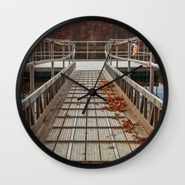 Autumn Lake Boardwalk Wall Clock