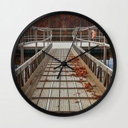 Autumn Lake Boardwalk Wall Clock