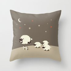 Sheeps jumping across a Fence Throw Pillow
