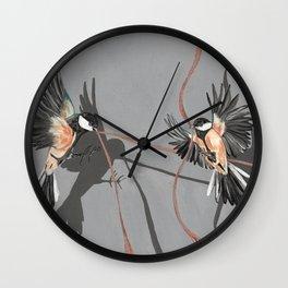 Great Tits Bird Ribbon Grey Wall Clock