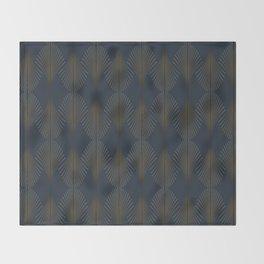 Art Deco Gold/Navy Pattern II Throw Blanket