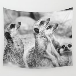 Black and White Meerkats Wall Tapestry