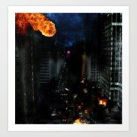New York under Attack!!! Art Print