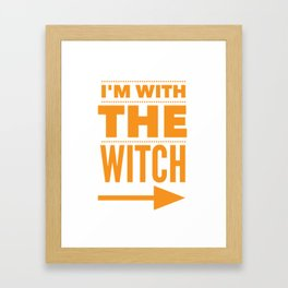 I'm With the Witch Funny Halloween Couple Costume Image Framed Art Print