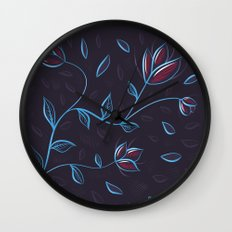 Abstract Glowing Blue Flowers Wall Clock