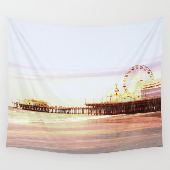 Santa Monica Pier Sunrise Wall Tapestry