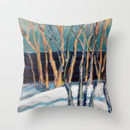 White Birch Grove / Dennis Weber / ShreddyStudio Throw Pillow