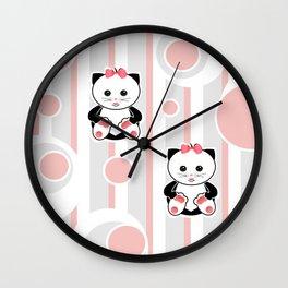Little kittens. The pattern for children. Wall Clock