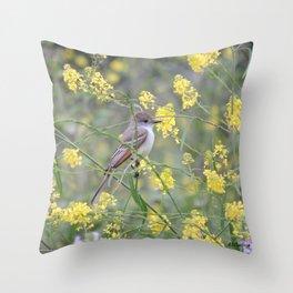 Ash-Throated Flycatcher in a Mustard Field Throw Pillow