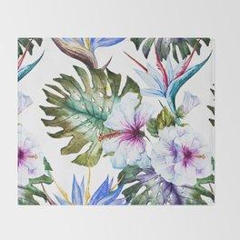 Watercolor Tropical Hibiscus Throw Blanket