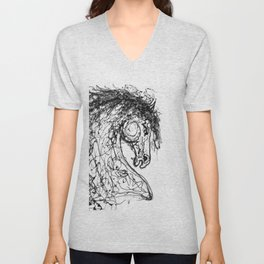 'Horse Painting Dripped Abstract  Inspired by   Pollock Style Unisex V-Neck