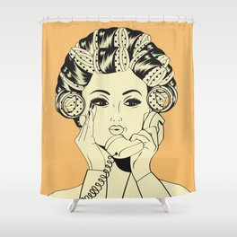 The woman with the curlers Shower Curtain