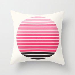 Pink Mid Century Modern Minimalist Scandinavian Colorful Stripes Round Circle Frame Throw Pillow