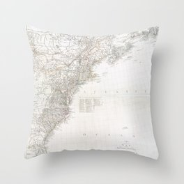 A new map of the British colonies in North America  -  shewing the seat of the present war, taken from the best surveys, compared with and improved fr Throw Pillow