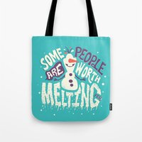 risa rodil Tote Bags featuring Worth melting for by Risa Rodil