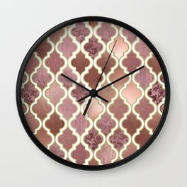 Rosegold Pink and Copper Moroccan Tile Pattern Wall Clock