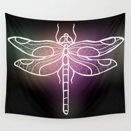 Botanical Dragon Fly Drawing, Succulent Hues Wall Tapestry