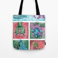superheroes Tote Bags featuring Superheroes SF by James Burlinson