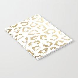 Modern white chic faux gold foil leopard print Notebook