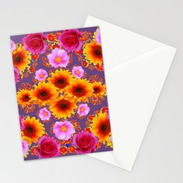 Red Pink Roses Golden Sunflowers Puce Art Stationery Cards