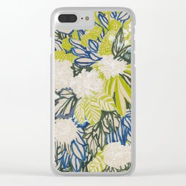 White chrysanthemums -ink floral Clear iPhone Case