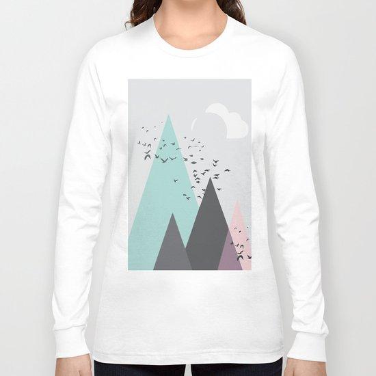 Geometric landscape - Swirling birds Long Sleeve T-shirt