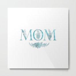 MOM Flower Monogram Blue Metal Print
