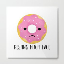 Resting Bitch Face | Pink Sprinkled Donut Metal Print
