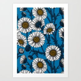 Daisies on blue Art Print