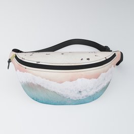 Aerial: Sandy Beach in Vivid Colours Fanny Pack