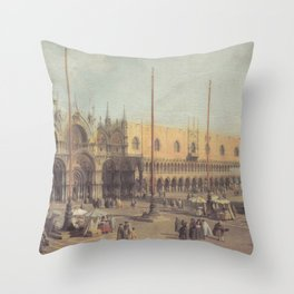 Piazza San Marco South East - Canaletto (Distressed Plaster Look) Throw Pillow