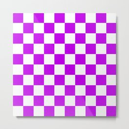 Cheerful Purple Checkerboard Pattern Metal Print