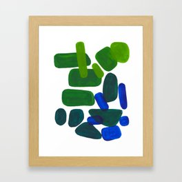 Mid Century Vintage Abstract Minimalist Colorful Pop Art Phthalo Blue Lime Green Pebble Shapes Framed Art Print