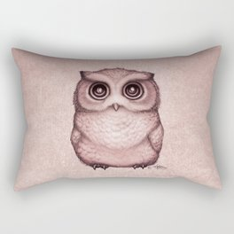 """The Little Owl"" by Amber Marine ~ (Peach Fuzz Version) Graphite&Ink Illustration, (Copyright 2016) Rectangular Pillow"