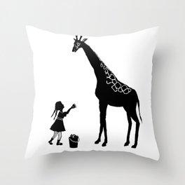 girl with apple and giraffe Throw Pillow