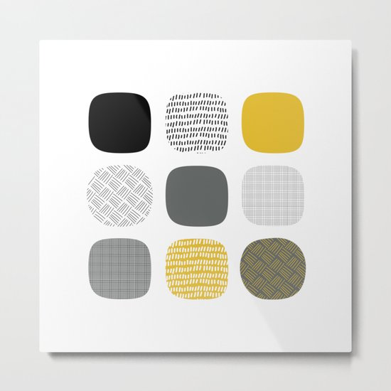 Abstract in mustard and grey Metal Print
