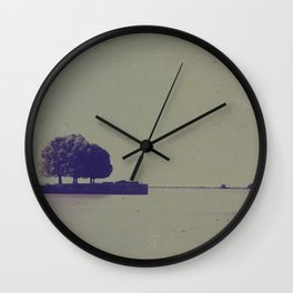 A textured potograph of the trees at the end of the pier Wall Clock