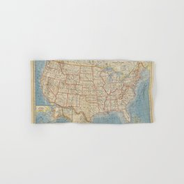 Old and Vintage Map of every States of The United States Of America Hand & Bath Towel
