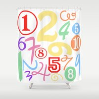 numbers Shower Curtains featuring Colorful Numbers by Sweet Colors Gallery