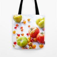tennessee Tote Bags featuring Tennessee Tomatoes by Lindsay Landis