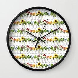Garden Rainbow in Mason Jars Wall Clock