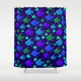 Cartoon Fish In Blues And Greens. Shower Curtain