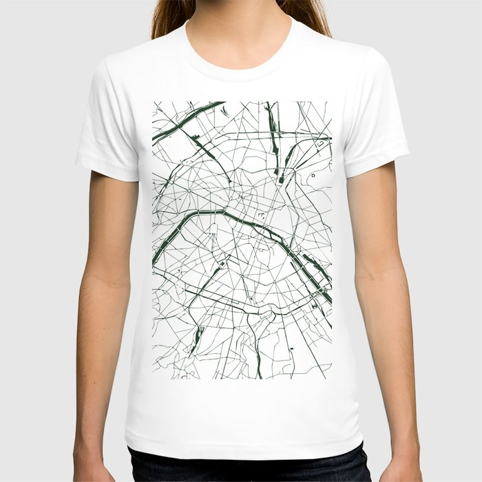 Paris France Minimal Street Map - Forest Green and White T-shirt
