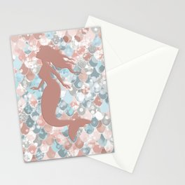 Elegant Mermaid Blush, Pink, Coral, Aqua, Teal Stationery Cards