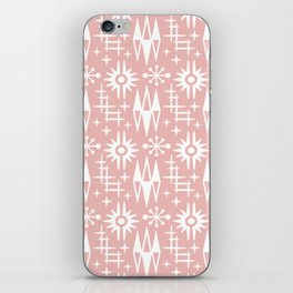 Mid Century Modern Atomic Space Age Pattern Dusty Rose iPhone Skin